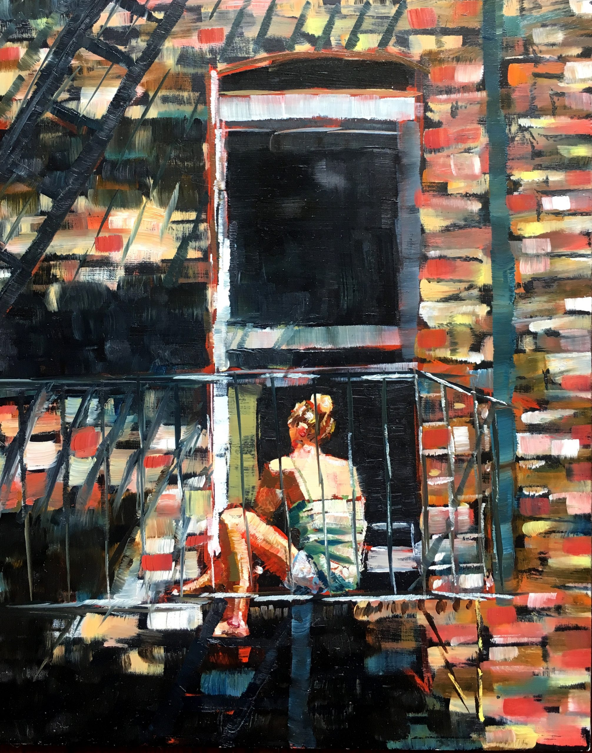 Reading on the Fire Escape