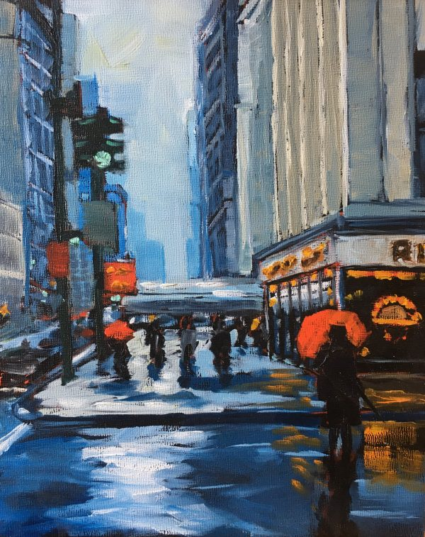 An oil painting of Fifth Avenue in New York at the Empire State Building