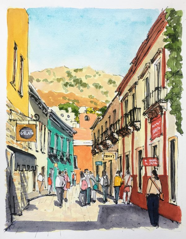 watercolor and ink painting of calle Truco in Guanajauto Mexico