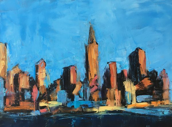 An oil painting of the Manhattan skyline in a loose abstract style
