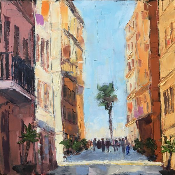 a painting of a narrow street leading to a beach in Barcelona