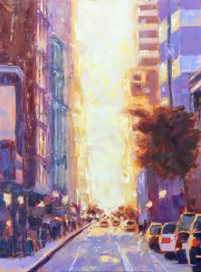 A New York City street scene at sunrise