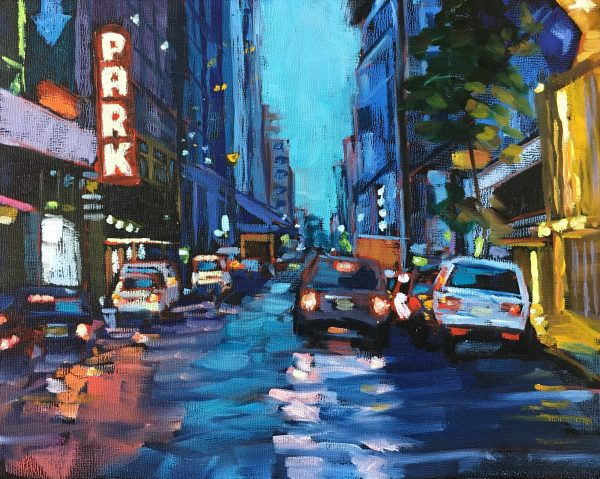 An oil painting of a crowded New York street with a pink neon PARK sign