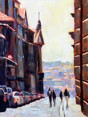 An oil painting of people walking down a street in Porto