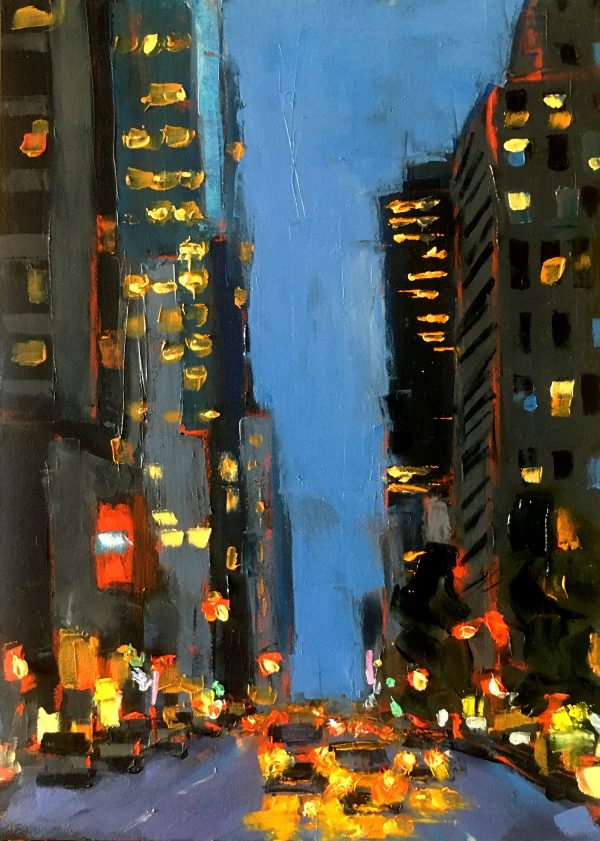 5x7 oil painting of New York skyscrapers at night with yellow taxi cabs