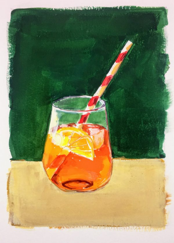 Painting of an Aperol Spritz cocktail in a stemless glass with straw and green background