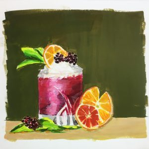 A gouache painting of a blackberry smash cocktail with berries, mint, and orange slices