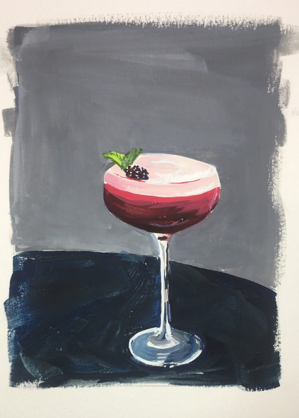 A painting of a dark pink cocktail against a grey background