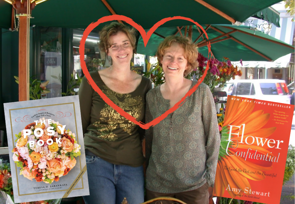 Photo of Amy Stewart and Teresa Sabankaya in her flower stall