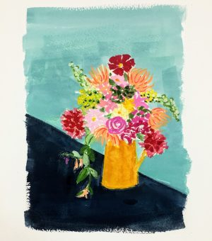 Gouache painting of a flower bouquet in a yellow vase with a blue background