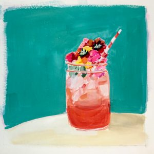 A painting of a rum punch cocktail in a jar with flowers for a garnish and a turquoise background