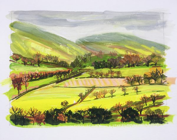 A painting of a landscape in the Scottish Highlands