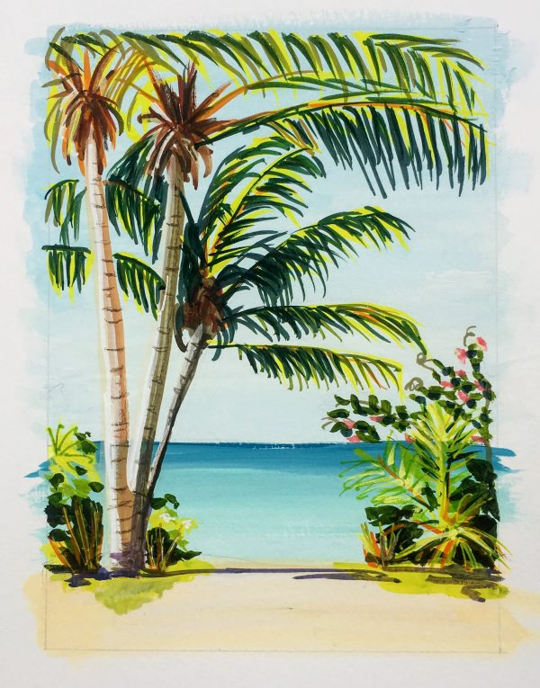 Painting of palm trees at the beaach