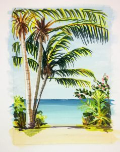 A painting of palm trees at the beach