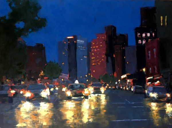 An oil painting of Greenwich Village at night with car headlights in the foreground