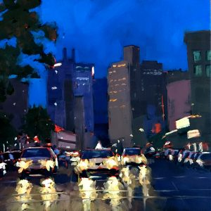 A square oil painting of cars and headlights in New York at night