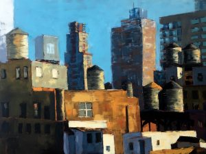 An oil painting of rooftops and water towers in New York City