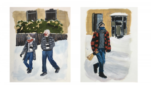 Gouache paintings of Portlanders walking through the snow carrying coffee or a liquor bottle
