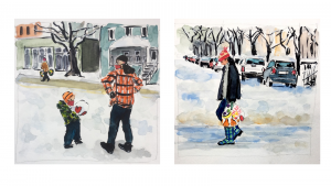 Ink and watercolor paintings of Portlanders in the snow carrying groceries or holding up a chunk of ice