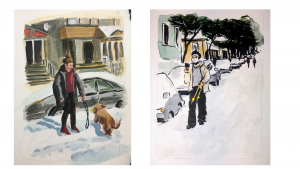 Paintings of Portlanders in the snow, one with a dog and one FaceTiming.