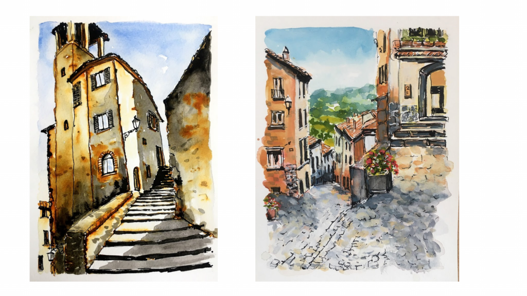 Drawings of buildings and streets in Italy
