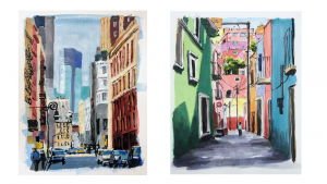 street scenes in Mexico and New York painted in gouache with one figure walking down the street
