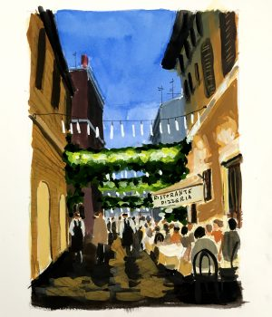 Painting of sidewalk cafe in Rome