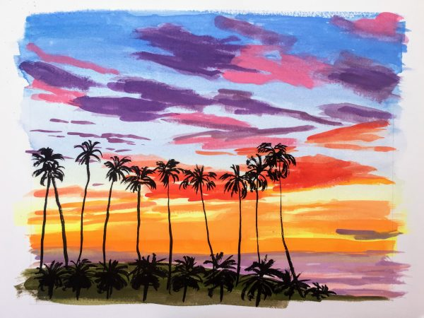 Gouache painting of a sunset with palm trees in the foreground