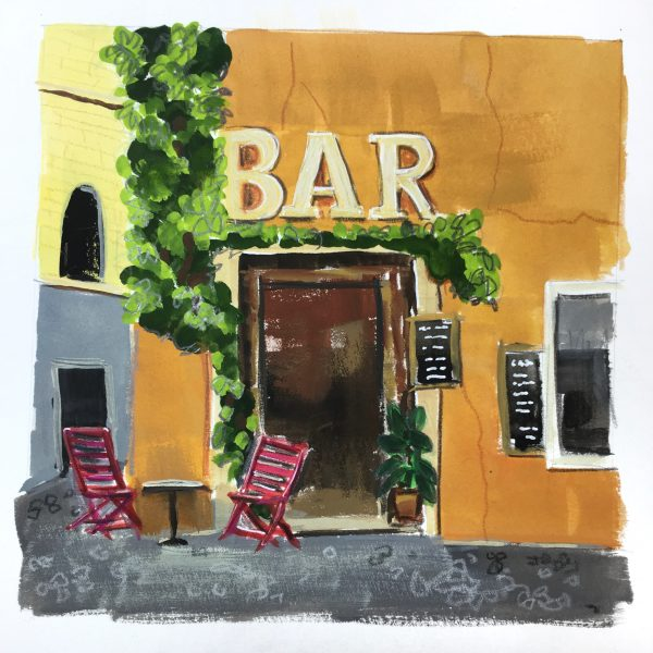 painting of the entrance to a bar in Trastevere area of Rome
