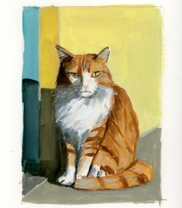 painting of an orange tabby longhair cat against a yellow wall