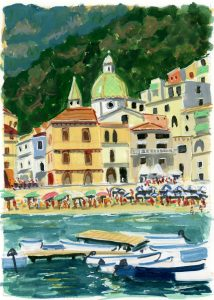 Painting of the village of Minori Italy as seen from the sea