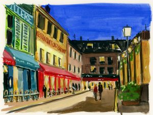 A nighttime painting of sidewalk cafes in Montmartre, Paris