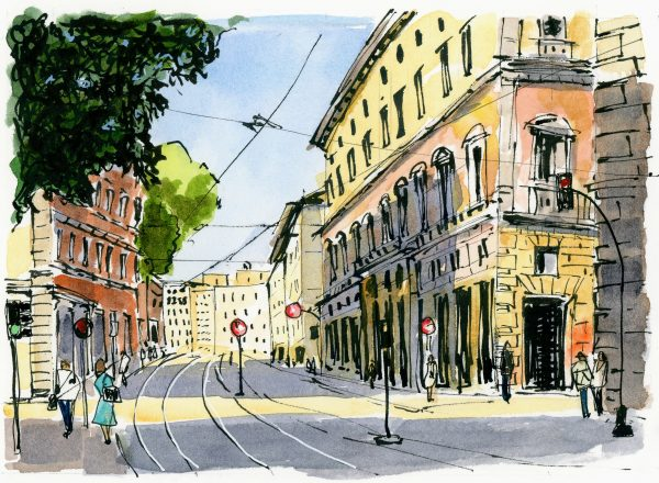 Ink and watercolor sketch of a busy street in Rome