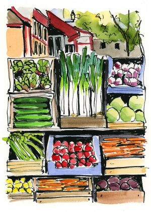 ink and watercolor produce stand in France