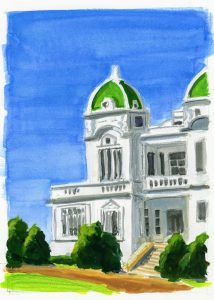painting of a white building with green domed roof