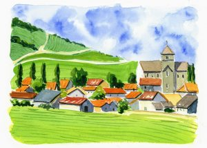 Watercolor painting of French village