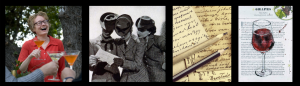 Photo collage of Amy Stewart, women reading a letter, writing, art