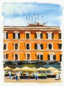 a painting of a farmers market in front of an orange building in Rome