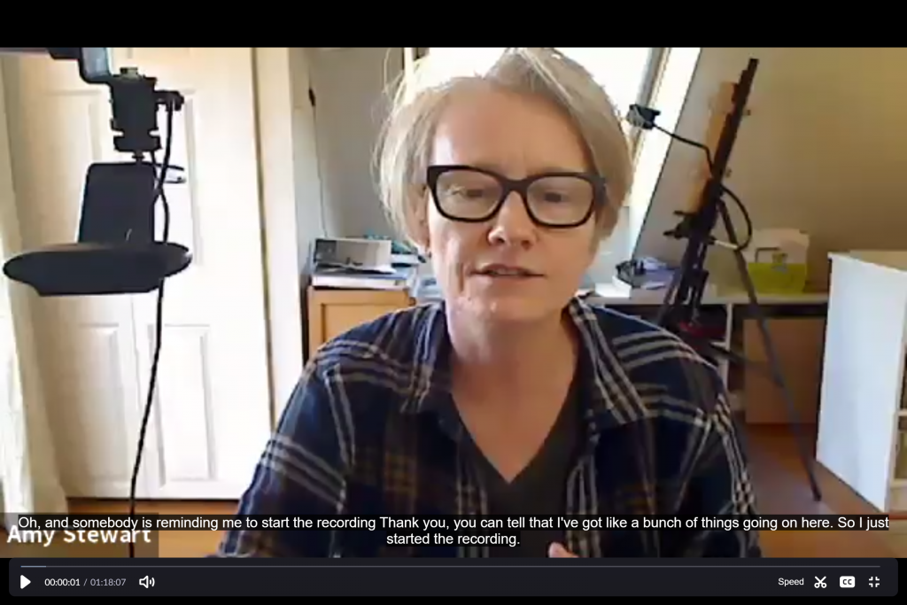 screen shot of zoom chat with captioning on