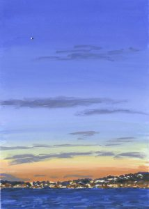 Painting of Los Angeles skyline at sunset
