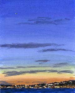 Painting of LA skyline at sunset