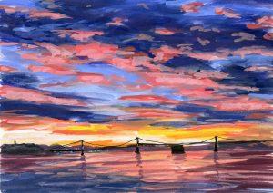 vivid multicolored sunset behind the Bay Bridge