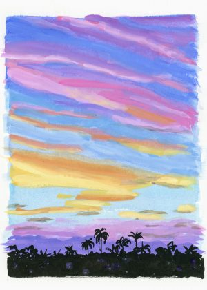 painting of a sunset over palm trees
