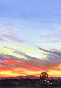 painting of a colorful sunrise in Portland