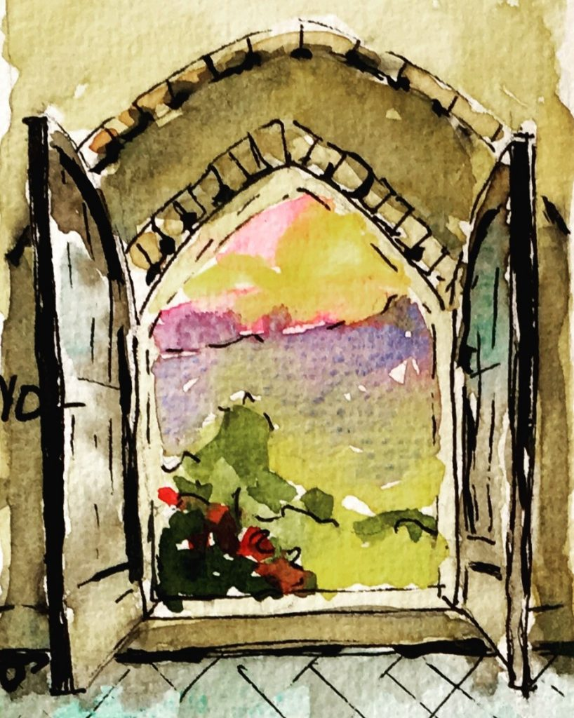 painting of a door opening onto a landscape
