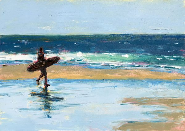Oil painting of a surfer walking along the beach with a surfboard