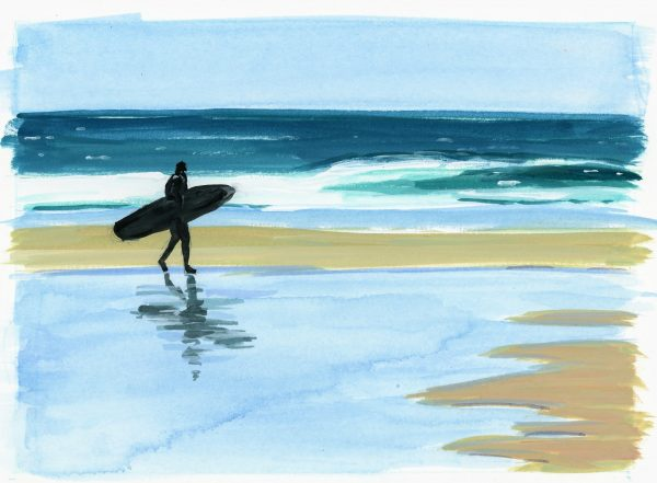 Painting of surfer walking along beach with surfboard