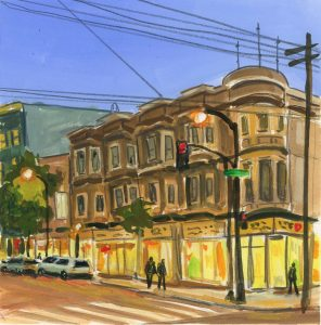 gouache and pencil painting of a Victorian at nightfall in San Francisco