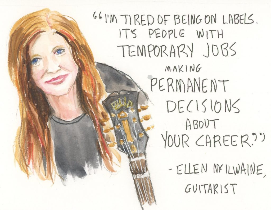 Painting of Ellen McIlwaine with quote