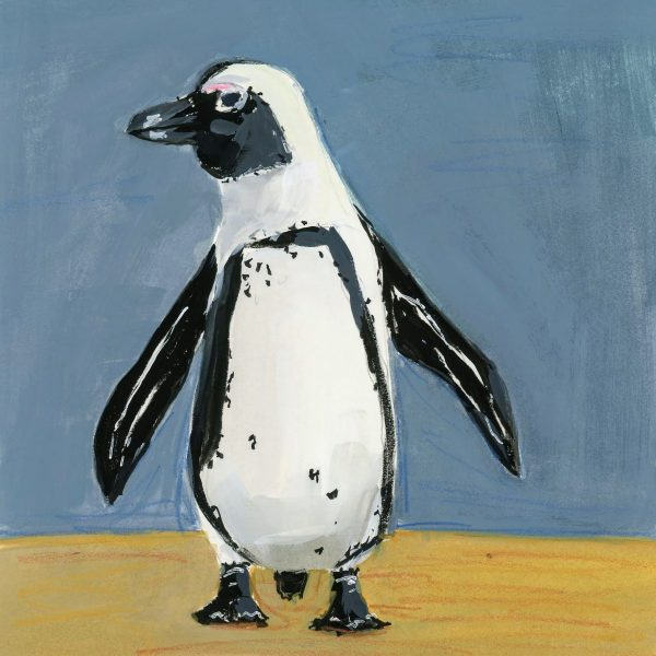 Painting of an African penguin against a blue background